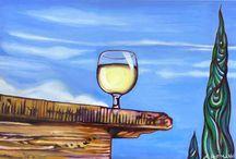 Torbolino / Öl auf Leinwand, 30 cm x 45 cm. Weinglas auf Natursteinmauer.