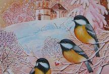 Зима - птицы и животные
