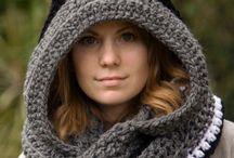 Crochet hoodie scarfs