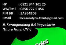 "beKAOS of you / ""BeKAOS of you"" melayani produksi dan penjualan KAOS POLOS tanpa merk, SABLON KAOS DIGITAL atau PRINT DTG (Direct To Garment) dan SABLON KAOS MANUAL.  Segera kunjungi workshop kami di Jl. Karangmalang, Blok B-9, Yogyakarta; yang terletak di sebelah utara Hotel UNY atau di depan Taman Kuliner Karangmalang UNY.  HP: 0821 344 101 25 SMS/WA: 0856 727 5 456 PIN BB: 5A864BD3 Email: bekaosofyou.tshirt@gmail.com Website : www.bekaosofyou.com"