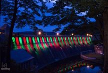 Fototour Edersee / Eine Fototour zum Edersee. Am Edersee wird die  Staumauer bei Dämmerung von 39 LED Strahler beleuchtet.