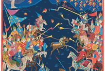 Battle Of The Mughals / This silk pocket square by Robertto's depicts a stylized view of the heat of some Mughal battle; trumpets are calling, spears are raised, and mighty steeds in livery are carrying their cavaliers. Beautifully designed, it effortlessly blends the artistic styles of Norman France with the perspectives of Moghul painting, resulting in an effect which is exotic, transglobal, timeless, and pleasing to the eye. It would suit somebody seeking a truly unique piece with which to accessorize their outfit.