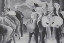 Black And White Prints / Original Vintage Prints from the 1930's from well-known artists such as Grant Wood, Peggy Bacon, Thomas Benton, John Stuart Curry, also Kilban Cat Vintage prints / by Billies Finds