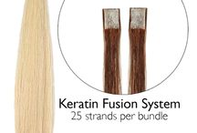 Keratin Hair Extensions / Our Fusion system features our durable keratin flat tip. This strand by strand system is applied by fusing the tip to the client's hair. Our high quality 100% keratin protein bond is designed to closely match the natural keratin found in human hair.
