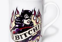 Tattoo Mugs and Ashtrays / Tattoo style ceramics by Vince Ray and Toxico.