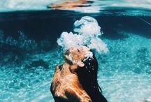 Breathe under water / Ocean. Swim. Beach. Sand.