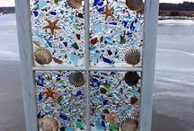 beach glass pebble window