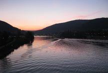 Neckar in Heidelberg / The river Neckar in different seasons ...