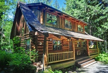 Bear Den Log Cabin / Bear Den Log Cabin is a comfortable and modern rough-hewn, log cabin tucked away in the woods alongside Billy Creek. A short trail through an old-growth forest of cedar, Douglas fir and ferns leads to the Salmon River. The spacious back deck at Bear Den Log Cabin overlooks Billy Creek. http://www.mthoodrentals.com/Unit.mvc/Details/18527