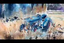 Akvarel traktor og biler