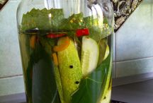 Lacto-fermented Dill Pickles / My brother is making pickles form his big harvest of cukes in the Bohemian countryside.