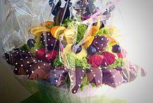 Fruta Arte Chile / Hermosos arreglos, hechos con frutas y rosas!