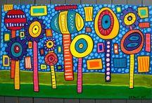 Splat Mat-floorcloths/banners / Floor Cloths made by Susan R. Sorrell.  http://creativechick.storenvy.com