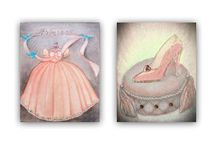 Princess Nursery Art SET OF 2 Prints / LIMITED TIME OFFER: Buy 3 Get 1 FREE! Buy 4 Get 2 FREE! Art Prints of my Original Hand painted Paintings, Fine Art, Canvas ready to hang, Watercolor Art, Digital Art, Custom Name, Custom Colors, Personalized Art. Check out my shop: http://www.etsy.com/shop/handpainting?ref=si_shop