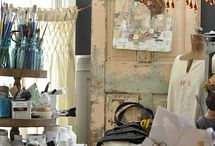 The Artist Studio / Glimpses at my own Art Studio, as well as artist studio spaces that are just simply FABULOUS!  www.contemporaryartbychristine.com