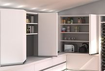 Beautiful Bifolds with Cinetto / Not just full width access to wardrobes and kitchen and pantry cupboards, but also a modern, streamlined look, Cinetto's bi-fold door system includes tracks, slides, hinges, bifold hinges and slice covers; everything you need to create a super smooth, quiet bi-fold door system for kitchen cupboards, pantries or wardrobes. Suitable for timber or aluminium-framed glass doors up to 50kg, Cinetto bi-folds glide smoothly with high quality ball bearing rollers on a sliding block.