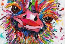 Vrolijke struisvogel
