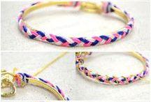 Braid nylon thread. Wrap it on pre-made bangle. Wrap chain around.
