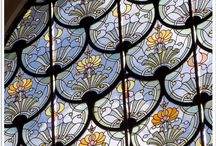 stained glass around a world