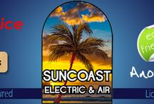 http://goo.gl/3GDCnD / SUNCOAST Electric and Air is a full service repair and installation company. Trusted partners for your family and business. ALL Sun coast Electric and Air technicians are fully licensed and insured for all Electrical, Air Conditioning, and General Contracting services.