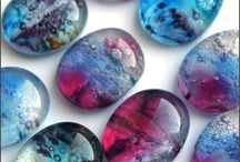 Glass cabochons / glass cabochons made of bohemian glass