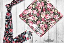 Pánské doplňky - květinový vzor / Doplňky v květinovém vzoru - kravaty, motýlky, kapesníčky do saka další stylovky