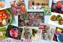 Pedras Pintadas / Veja mais ideias no Facebook  e no Blog do Fika a Dika