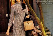 sukienki na drutach i szydełku / modele i wzory sukienek