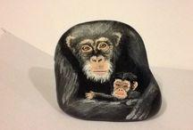 Monkeys - painted rocks