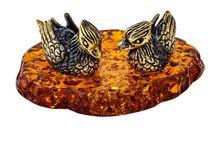 Amber and Brass Bird Figurines / Bird figurines made of original Baltic Amber and Brass