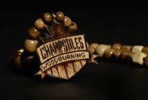 CHAMP CHAINS / Custom wood beaded necklaces featuring hand burned (pyrography) pendants.