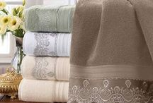 Coloured lace towels