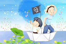 Wall paper for little boys / Papa, moi et le bateau pirate