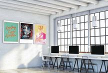 Co-working Collection / Set of 3 Printed Artworks for your co-working space. A stream of types on your shared wall. Letters, words and evocative quotes. Mix them together, connect with other people and create!