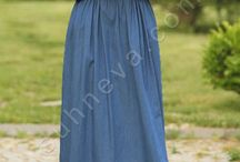 Fularlı Kot Elbise / tesettür giyim, kot elbise
