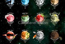 galaxy and moons