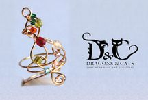 wire jewelry / Dragons and Cats