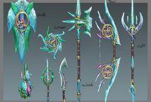 Concept Art - Weapons / Designs for sword, shield, bow, staff, spear, maul, halberd, etc.. (No Guns, Guns here = https://www.pinterest.com/randomrando/concept-art-guns/ )