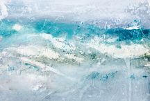 Abstract Expressive Seascapes / Mixed media paintings inspired by my study of the ocean; her moods, movements, colours and rhythm.