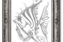 Jeff Haynie Fish Drawings