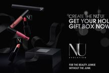 "NU EVOLUTION Holiday Gift Boxes! / Give the ""Ultimate"" Gift of Beauty for the True Beauty Junkie WITHOUT the Junk! These ""MUST-HAVE"" Holiday Gift Sets includes some of our favorites. It's the perfect gift for any beauty aficionado, or treat yourself to these ""secret weapons"" to highlight any bombshell features!"