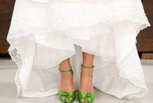 Green wedding shoe
