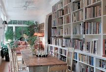 Dining Room Library / Ideas for our huge dining room with floor to ceiling windows. China cabinet will be on one wall, and bookshelves, and a table, and lounge chairs, and a desk...