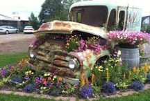 Old vehicles with flowers