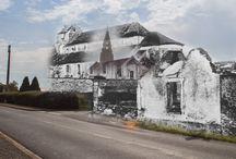 100 ans plus tôt / Série de montages superposant sur des photos actuelles de lieux emblématiques de l'Aisne et des images d'archives prises au même endroit un siècle plus tôt.