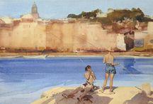 """Sir William Russell Flint (1880-1969) / Le persone raffigurate devono essere """"belle"""" per delineare al meglio la bellezza del paesaggio"""