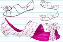 Shoes sketches / Croquis de calçado feminino. Ilustração manual e finalização no Photoshop.