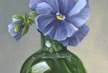 stilleven glas met bloemen
