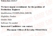 walkin interview ITI/DIPLOMA(MECH) instersting candidate apply  for this job
