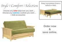 Wallhugger Frames / Whether you need a small futon frame to fit into a corner or a large futon frame, these Wallhugger Futon Frames are the perfect sofa bed solution for tight spaces. / by The Futon Shop Organic Futons & Mattresses